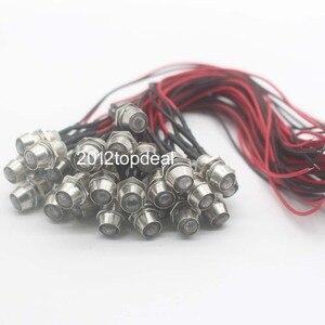 """Image 2 - 10 100 יחידות 5 מ""""מ 12 V חוטית טרום LED צבעוני אור דאש מחוון פיילוט מנורת חוט מתכת מוביל"""