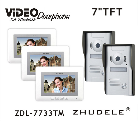 ZHUDELE Control Doorbell Intercom System 7 Video Door Phone Touch button Kits Night Vision 700TVL HD Home House Security 2V3