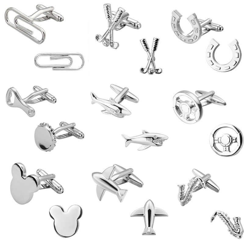 Fashion men's shirts Cufflinks silver shark 18 aircraft design high-quality Cufflinks wholesale and retail