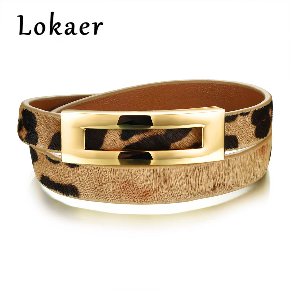 Lokaer Retro Leopard Double-layer Adjustable Leather Wrap Bracelets Classic Black/Brown/Leopard Charm Bracelet Jewlery LPH1005 ...