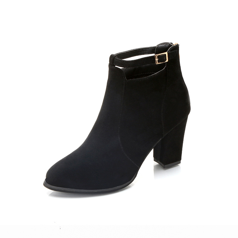 2018 autumn new high-heeled Korean version of large size suede thick with back zipper wild ladies boots black ljj 11022018 autumn new high-heeled Korean version of large size suede thick with back zipper wild ladies boots black ljj 1102
