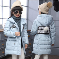 Baby girls long duck down coat for Winter clothes girls boys Jackets Baby boys winter outwear kids warmly clothes for 7 13 years