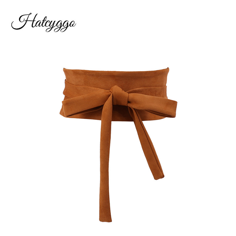 HATCYGGO Fashion Women Cummerbunds Simple Sleeve Girdle Elastic Wide Stretch Waistband Girls Sweet Waist Belt Dress Accessories
