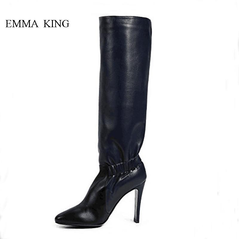 Souple Bout Glissent Chaussures Sur Noir Femme mollet Sexy Mode Stiletto Mi Pointu Bottes Haut De Talons Conception Cuir Femmes Plissée En xwwIqOz