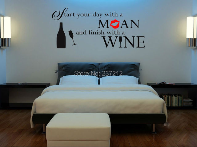 Funny Adult Alcohol Quotation On Wine Wall Sticker Wall Art Home Decor Free Shipping