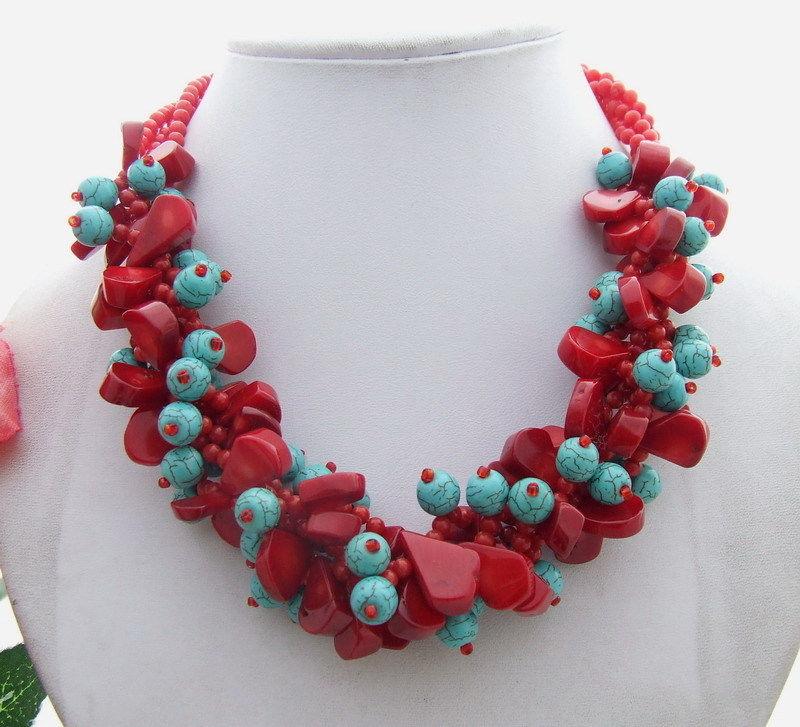Потрясающе! 4 нити кораллового ожерелья