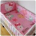 Promoción! Kitty Mickey bebé juego de cama de algodón cortina tope del pesebre del bebé del algodón juego de cama de bebé, incluyen ( bumpers + hojas + almohada cubre )