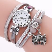 Women Girls Clock Analog Quartz Pendant Owl Ladies Dress Bracelet Watch