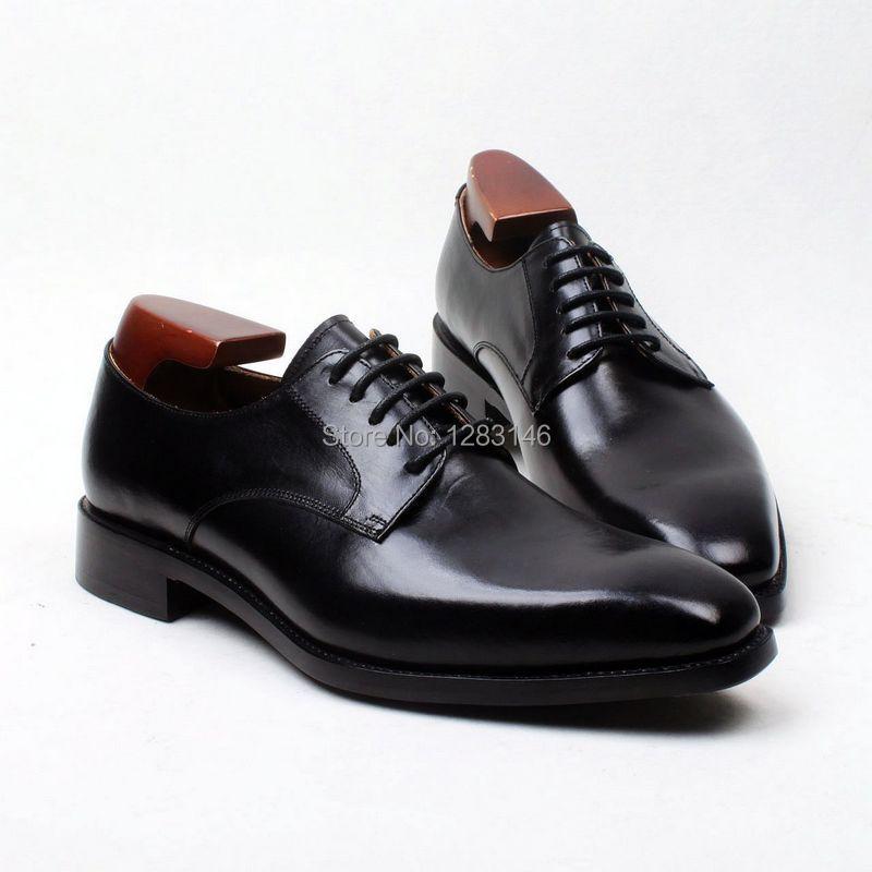 obbilly Square Toe Color Black Plain Toe Leather sole Classic  Goodyear Craft Handmade Men's Flats Derby Shoe No. D193 полироль пластика goodyear атлантическая свежесть матовый аэрозоль 400 мл