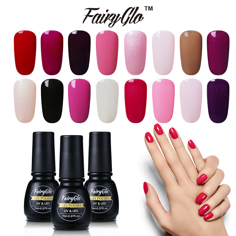 FairyGlo 7ML Nagelgel tränken UV-LED Semi Permanent Gel Nagellack Emaille Gel Lack Base Top Primer Glück Lack Tinte
