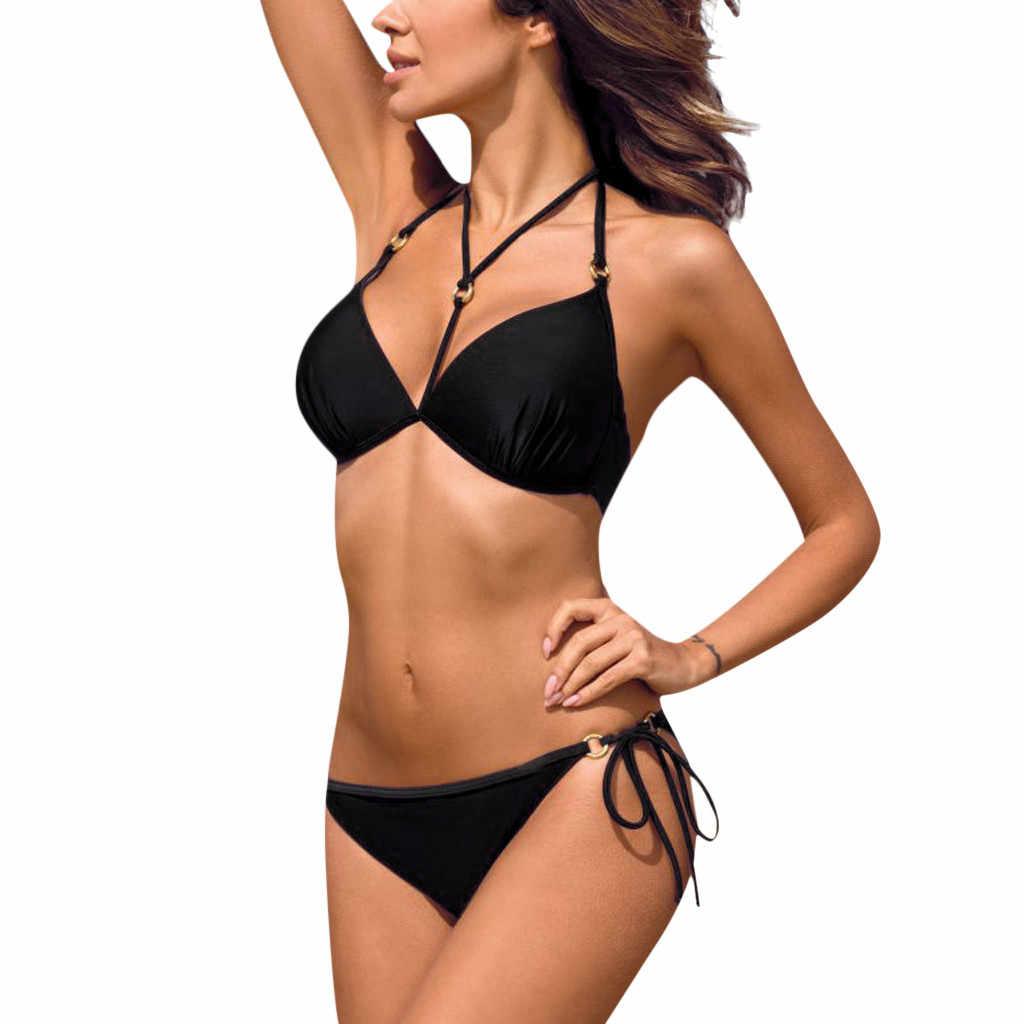 CHAMSGEND Vrouwen Driehoek effen kleur luipaard print hot stamping doek verzamelen grote size strap bikini badpak tweedelige badpak