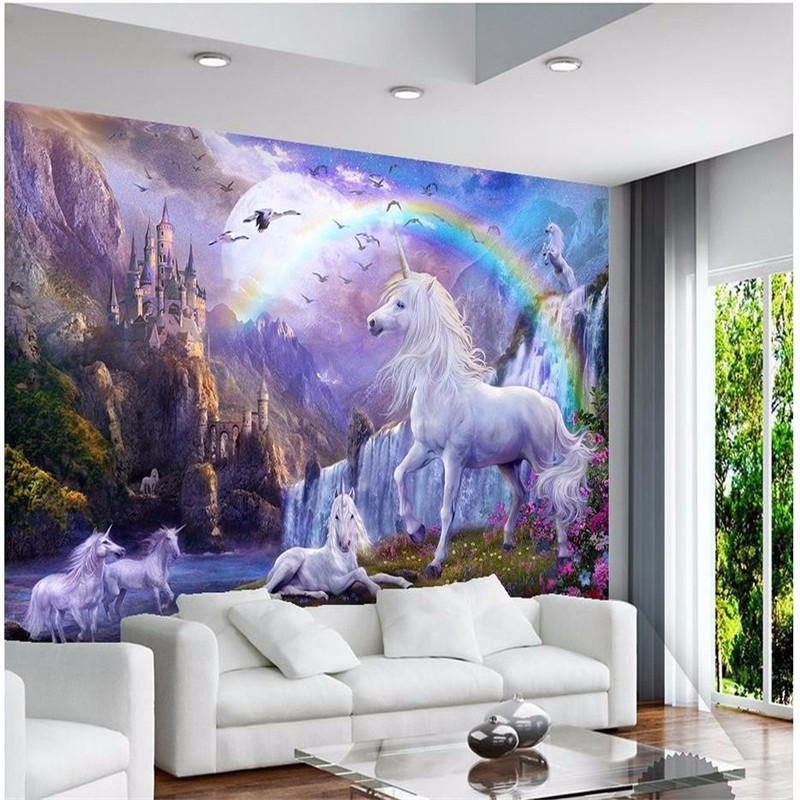 Custom-3d-photo-wallpaper-3d-wall-mural-wallpaper-Blue-sky-rainbow-waterfall-white-horse-animal-landscape