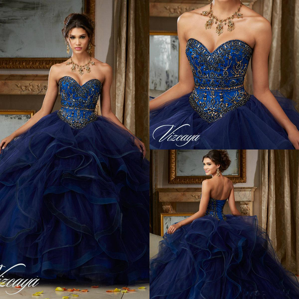 Dark Navy Beaded Prom Dresses Sleeveless Sweetheart Quinceanera Dress Sweet 16 Masquerad Ball Gowns Corset Party Evening Gown