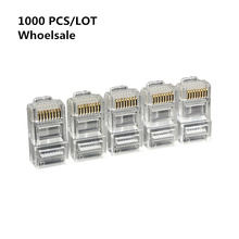 цена на High quality 1000PCS Cable terminal Transparent Crystal Head Crystal Head RJ45 CAT5 Modular Plug Gold Plated Network Connector