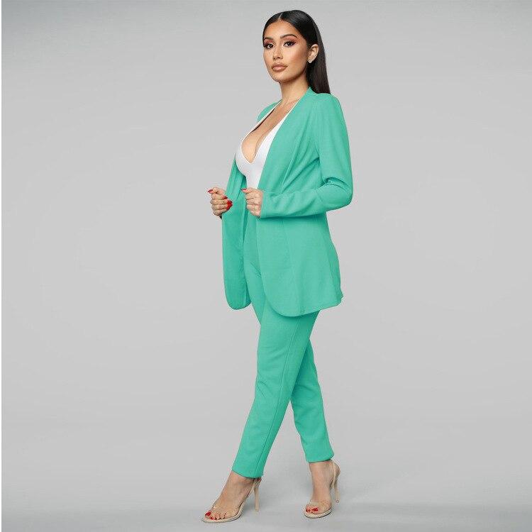 Allyzozo Pink Blazer Set Women Suits Office Sets Casual Turn-down Collar Business Suit Cardigan Jacket Blazer  High Waist Panty
