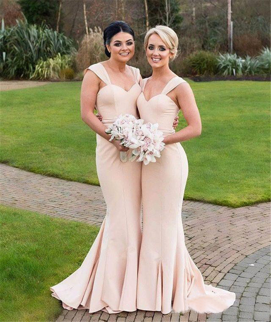 Simple Long Mermaid   Bridesmaid     Dresses   2019 Sweetheart Straps Floor Length Formal   Dress   Custom Made Maid Of Honor Gowns