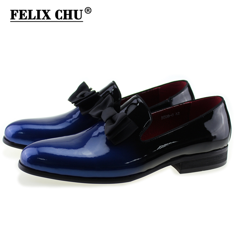 Free DHL Brand Luxury Genuine Patent Leather Men Wedding Dress Shoes With Bow Tie Men's Banquet Party Formal Loafers outlet online beoWfr07s