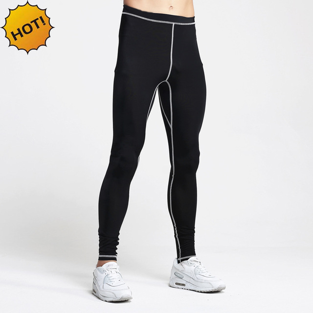 HOT 2017 Summer Trainning high Elastic Exercise Legging pants Men compression Quick Dry Sweat Tight Black base Basketball pants