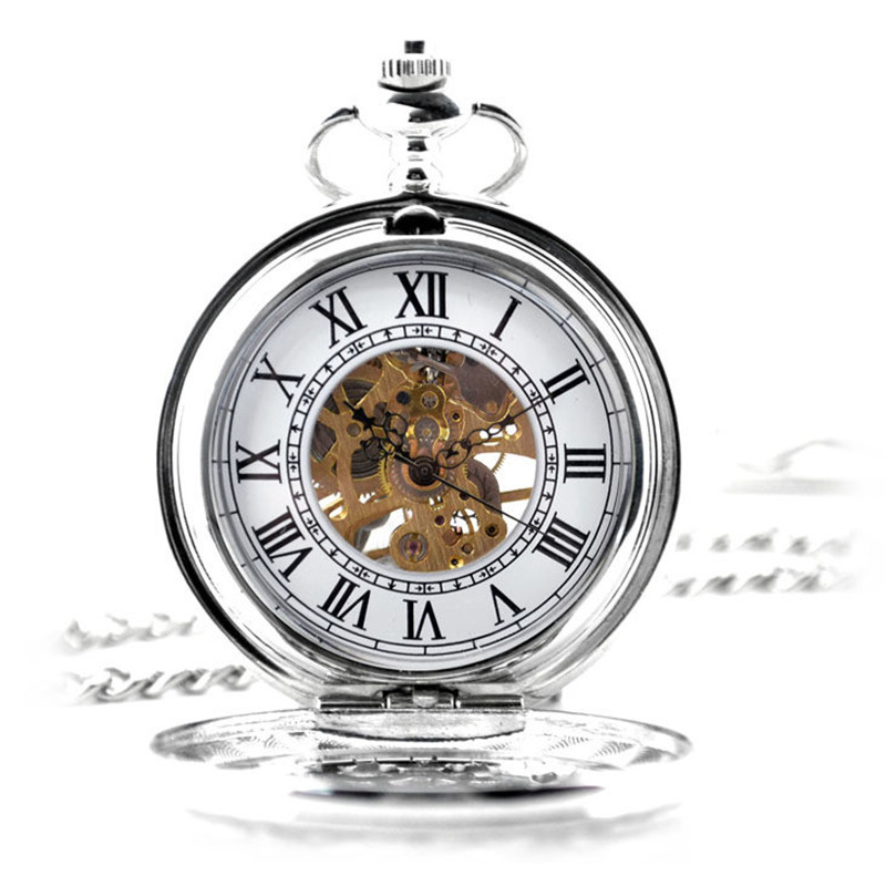 Silver White Retro Hollow Skeleton Automatic Mechanical Pocket Watch Men's Watch Vintage Hand Wind Clock Shield Necklace Gift