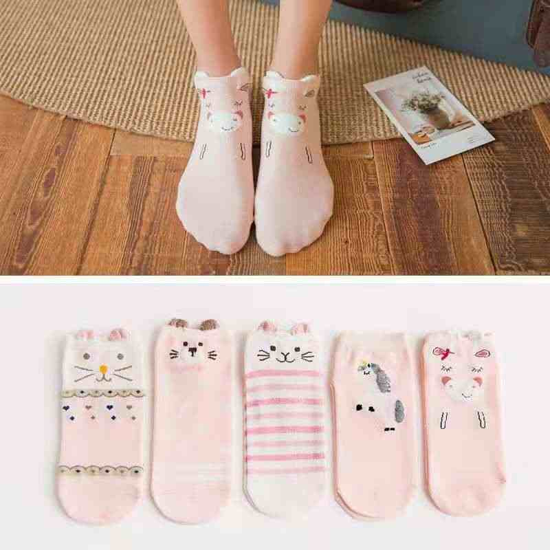 Cute cat cartoon candy color cotton socks antibacterial deodorant breathable casual socks