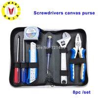 8 в 1 набор ручных инструментов Отвертка гаечный ключ режущие плоскогубцы бытовые инструменты для ремонта комплект с коробкой для хранения
