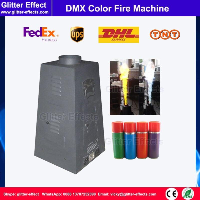 Projecteur de flamme de couleur de 4 jets DMX512 scène hexagonale DJ Disco spectacle de performance machine de feu de couleur de pulvérisation d'effet spécial pour superstar