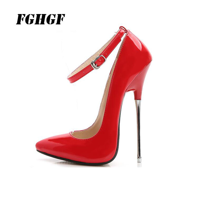 Sexy Women'S High Heels Summer Wear Bright Surface Colour Buckle Solid Heel Good Material Pointed Toe Women'S High Heels