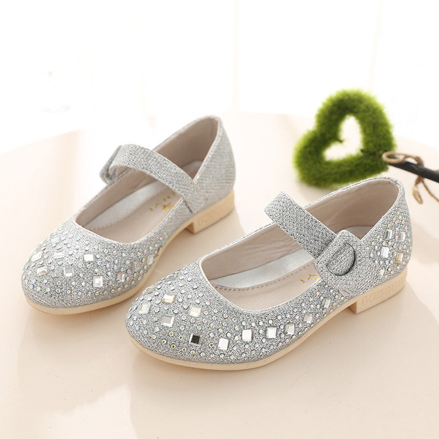 Children 'S Shoes For Girls 2017 Spring/Autumn Fashion Princess Single Leather Shoes Kids Girls Party Shoes Hot Drilling