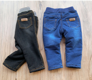 Image 2 - Baby Boys Clothing 2018 High Quality Thicken Winter Warm Cashmere Jeans Children Pants Boys Wild Little Feet Pants Jeans 1 6T