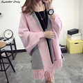 2016 new hot sale da mulher outono inverno moda Franjas xale knit camisolas mulher manga batwing cardigans casual casacos 5 cores