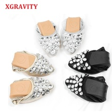 XGRAVITY Hot Crystal Flats Ballet Floral Flat Shoes Rhinestone Women Designed Girl Flower Pointed Toe Golden Loafers C288