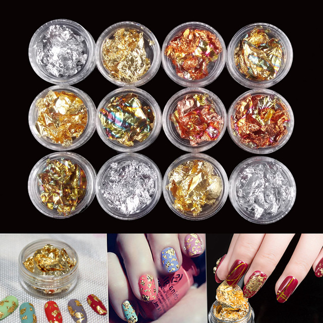 12 Pot/Set Gold Silver Glitter Nail Foils Sticker Gel Adhesive Glue Image Transfer Paillette Flake Full Cover Laser Decal Decor