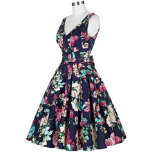 New Fashion Women Summer Dress Vestidos Plus Size 50s Pin Up Rockabilly Vintage Dresses Sleeveless V-Neck Tunic Sexy Party Dress
