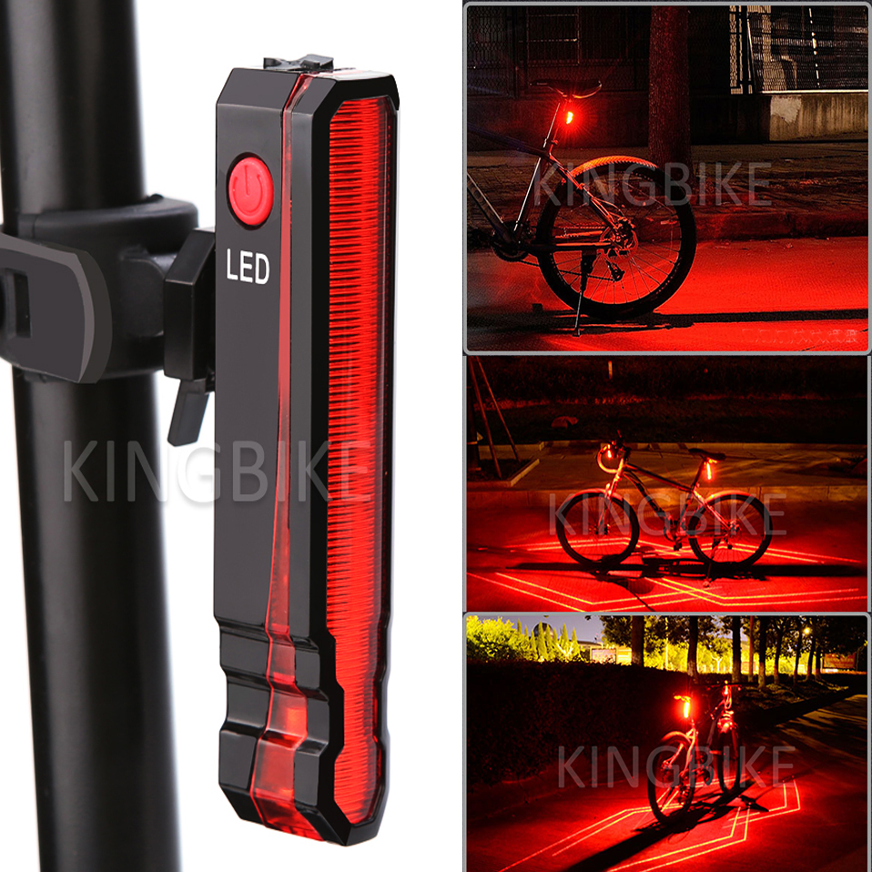 Back Bike Light Taillight Safety Warning USB Rechargeable Bicycle Lights Tail Lamp Comet LED Laser Line LD Cycling Bycicle Light