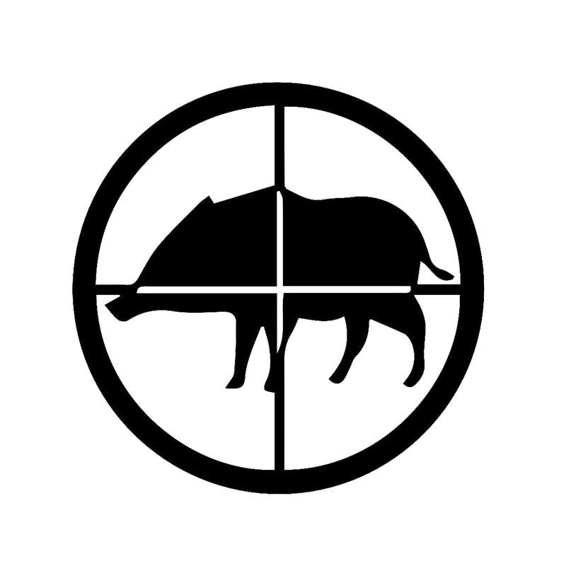 Оптовая 5шт,10шт,14.3 см*14.3 см творческий животных Охота стрельба Дикого кабана автомобиль наклейки черный серебристый