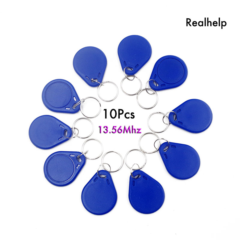 10pcs Proximity Control Entry Access 13.56MHz 1108 Key Ring PVC IC Tag Fob Contaless  RFIC Smart Keyfob For Attandance System