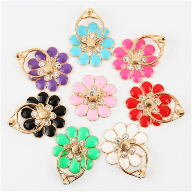 UVR Reusable Camellia Flower Finger Ring Smartphone Colorful Metal Stand Holder Phone Holder Stand For iPhone Huawei All Phone