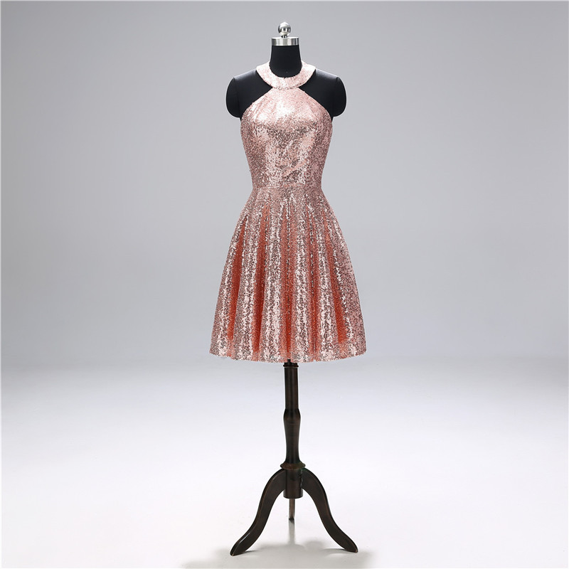 Sparkling Halter Sequin Pink   Cocktail     Dresses   Sleeveless A line Above Knee Length   Dress   vestidos de fiesta   Cocktail   party   dress