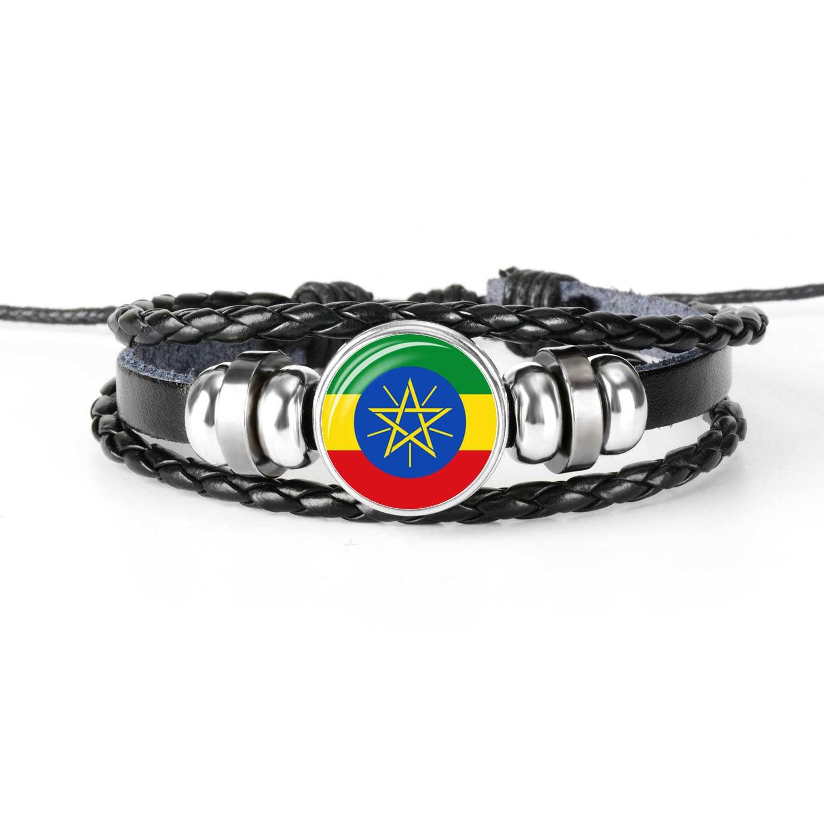 โซมาเลีย ERITREA บุรุนดีเคนยาเซเชลส์ East Africa National Flag สร้อยข้อมือลูกปัดผู้ชายผู้หญิงแก้ว Cabochon สร้อยข้อมือหนัง
