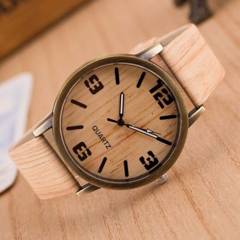 watch men Casual Wooden Leather Strap Watch Wood Male Wristwatch Relogio Masculino saat Watchband reloj hombre montre homme