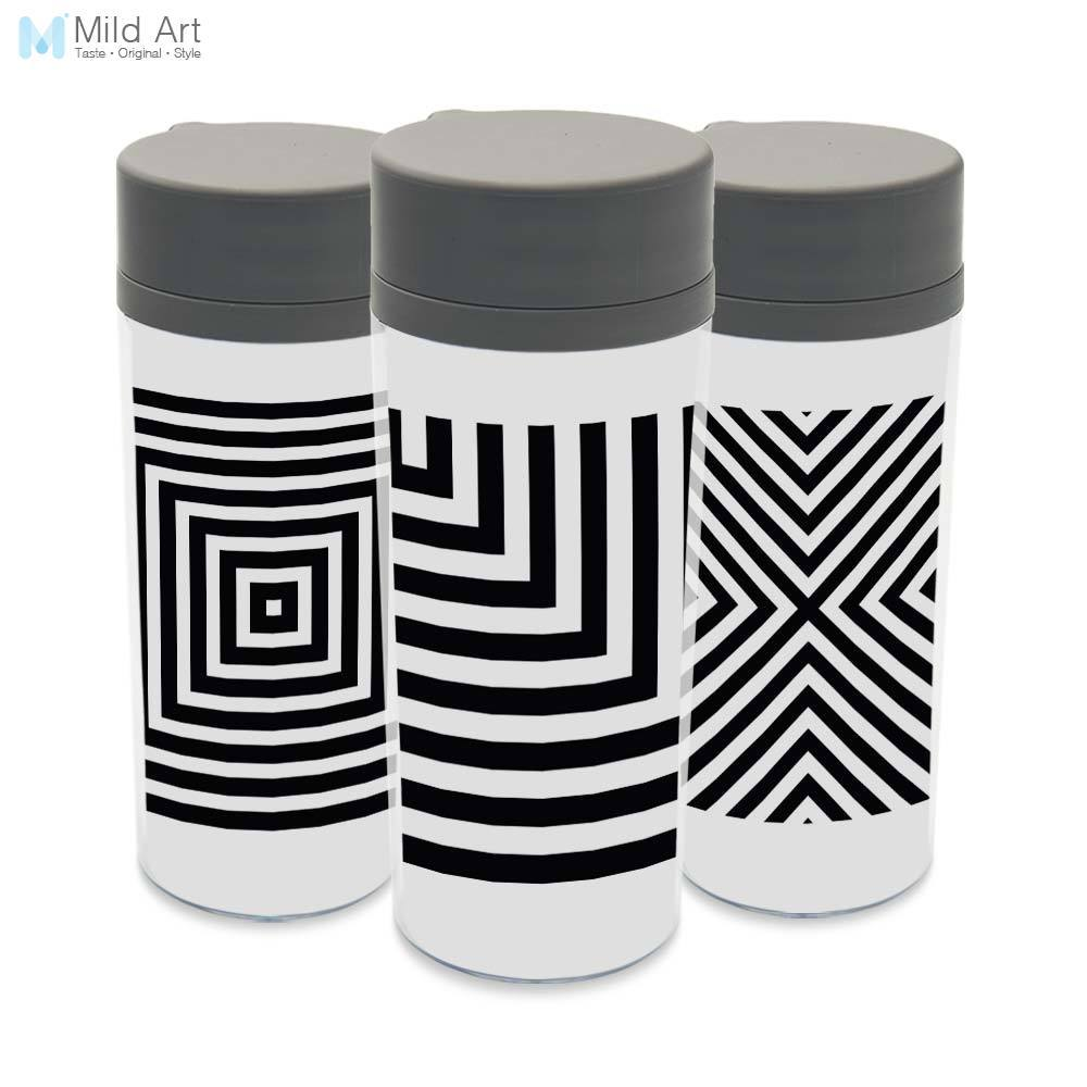 Plastic Insulated Minimalist Black White Modern Abstract Geometric Water Bottles 300ml Gift BPA Free With Lid Clear Drinkware