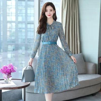 2019 Autumn Winter Vintage Chiffon Floral Midi Dress Plus Size Maxi Boho Dresses Elegant Women Party Long Sleeve Dress Vestidos