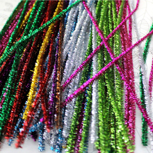 100pcs Glitter Chenille Stems Pipe Cleaners Plush Tinsel Stems Wired Sticks Kids Educational Toys Crafting DIY Craft Supplies 100pcs chenille wire plush chenille stems iron wire diy art craft sticks party decor pipe cleaner 6mm x 12inch assorted colors