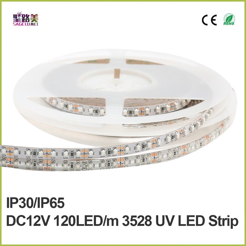 DC 12V UV Ultraviolet 395-405nm led strip black light 3528 SMD120led/m Waterproof tape ribbon lamp for DJ Fluorescence party