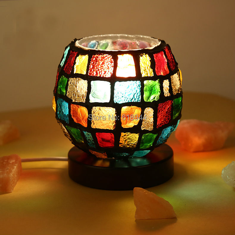 Colorful desk lamp creative adornment bedroom lamp small night lamp crystal salt lamp