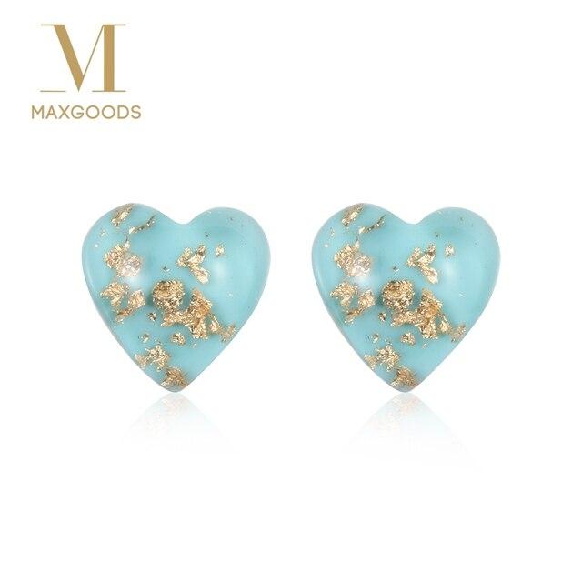 1 Pair Chic Mini Heart Ear Studs Natural Blue Stone Earring For Women Bridel Wedding Earrings