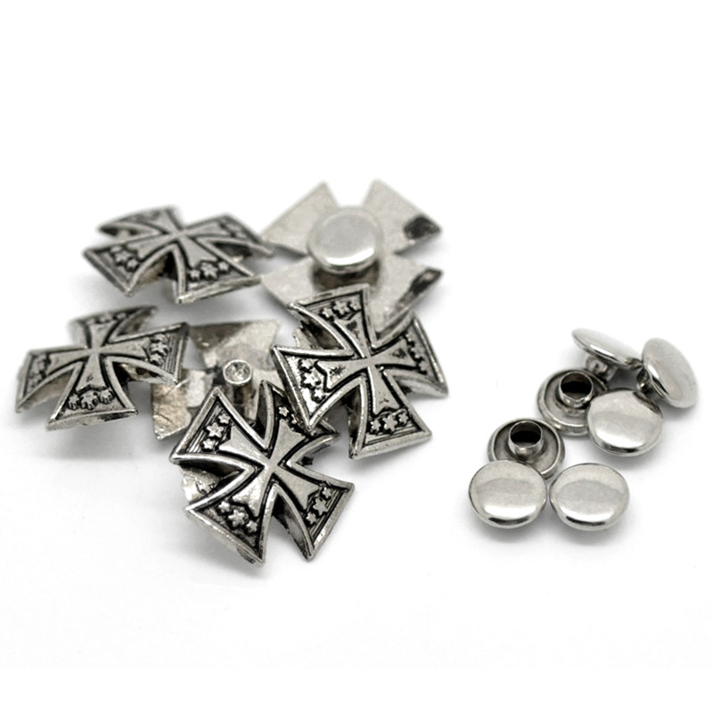 20Sets Antique Silver Tone Punk Cross Shape Studs Spots Rivets Spike Fit Bag Shoes Clothes Crafts 15x15mm 7x3mm in Bag Parts Accessories from Luggage Bags