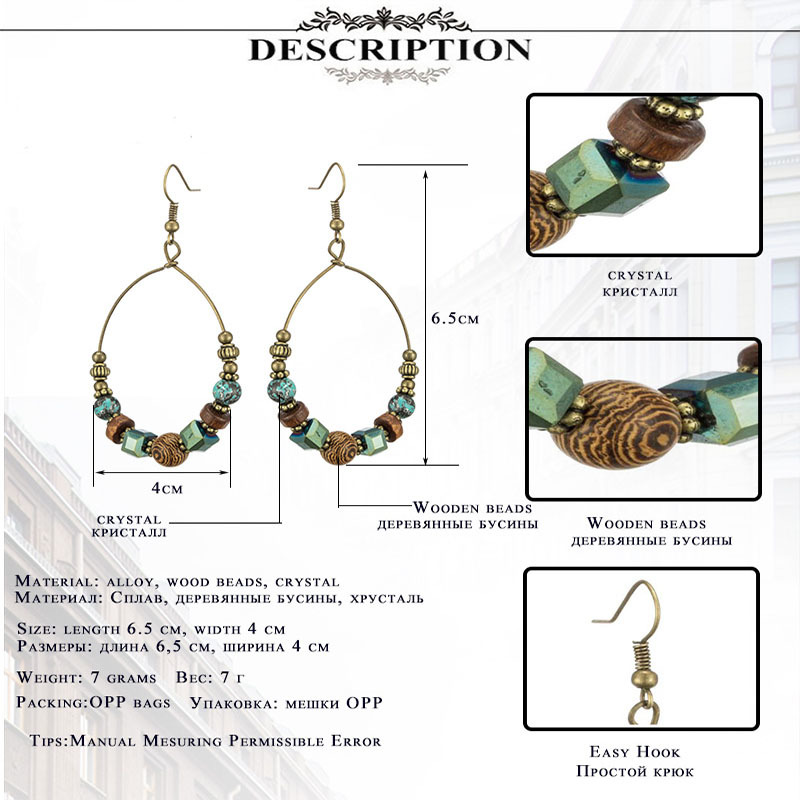 Bohemian crystal earrings for women Ethnic big circle round hollow tassel earring Vintage metal wooden beads earing jewelry gift