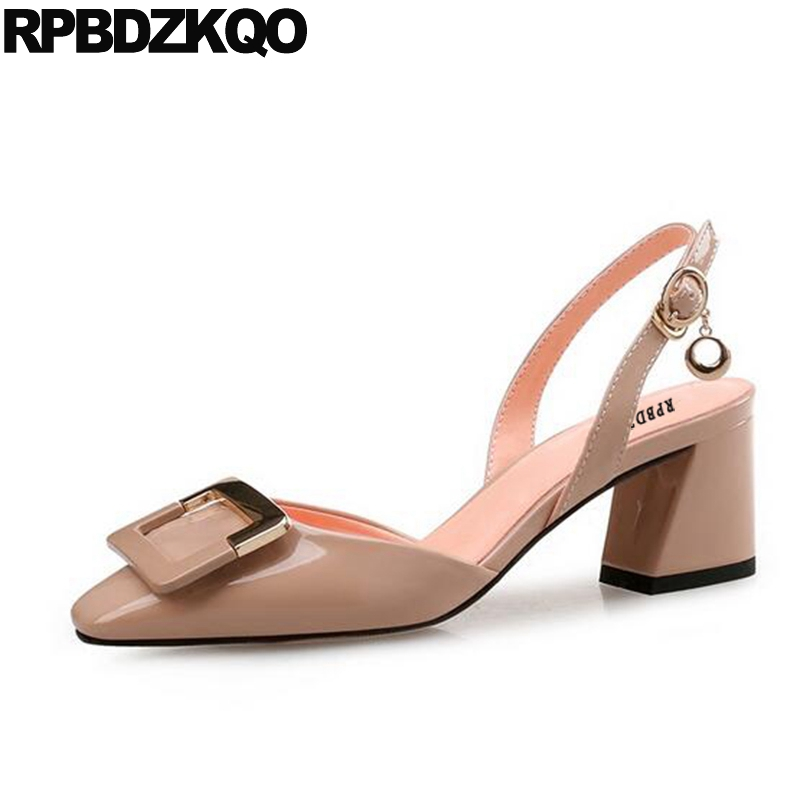 Famous Slingback High Heels Square Toe Size 33 Big Women Shoes 45 11 43 Medium Sandals Pumps Nude Block Plus Strap Patent sandals metal strap pumps square toe beige vintage medium 2017 women shoes high heels size 33 slingback belts block chinese