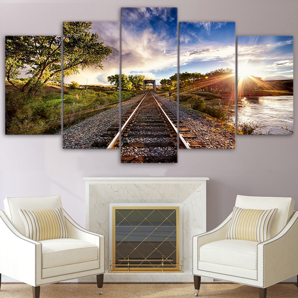 Modern HD Frame Poster Wall Art Living Room 5 Panel Sunset Blue Sky Tree Railway Sight Home Decor Canvas Painting Print Pictures